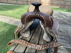 Vintage, Western, Brown Leather Acorn Tooled, Cowboy Horse Saddle