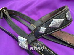 Vintage Western Horse Black Leather PARADE Bridle w Crocket Renalde Bit & Reins