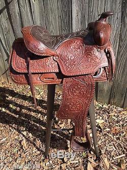 Vintage Western Leather Horse Saddle Bar Stool Rustic