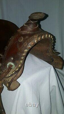 Vintage Western Pony Mini Youth Tooled Leather Kids Horse Saddle