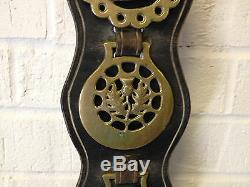Vintage Western Set of 6 Horse Brass Medallions on Leather Strap