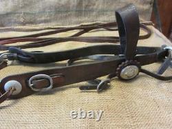 Vintage Wide Cheek Bridle Bit Antique Leather & Silver Buttons Horse 10145