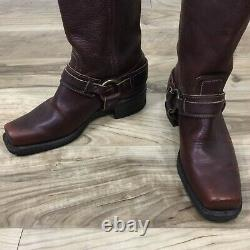 Vintage Women's Frye Belted Harness Oiled Leather Boots Distressed Moto 9m USA