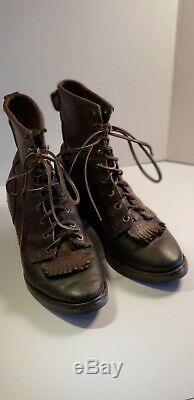 Vintage Women's White's Boots Brown All Leather Packer Boots Between Size 8 & 9