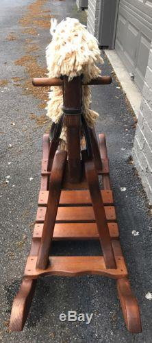 Vintage Wooden Hand Carved Rocking Horse with Leather Seat