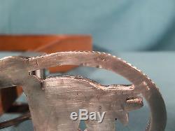 Vintage Zuni Handmade Sterling Silver Inlaid Stone Horse Design Belt Buckle