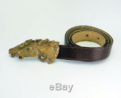 Vintage bronze horse head belt buckle leather belt by Gucci Italy