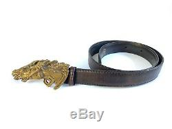 Vintage bronze horse head belt buckle with leather belt Authentic by Gucci Italy