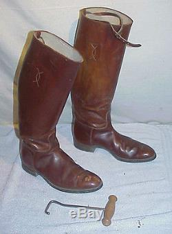 Vintage circa 1940 Womens Leather Riding Boots Horse Equestrian size 10.5 approx