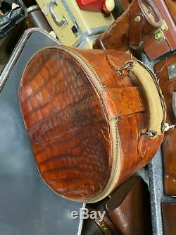 Vintage crocodile skin leather round horse shoe hatbox hat box suitcase 1920's