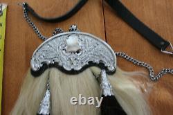 Vintage kilt horse hair sporran chrome gilt bag piper scottish with leather strap