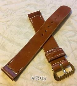 Vintage tan 16mm Shell Cordovan American 1940s watch band genuine horse leather