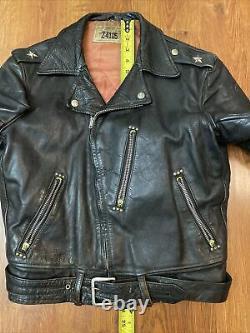 Vtg 1950s Windward Horse Hide Leather Jacket Talon Zipper Montgomery Ward Double