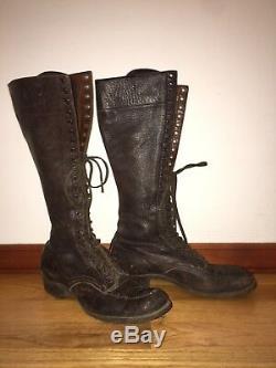 Vtg 30-40's Bone Dry 45 Mens HORSE Hide Lace Up Below Knee Logger Work Boots