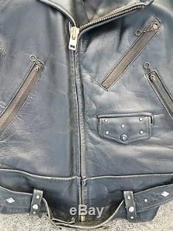 Vtg 40's 50's horse hide leather jacket biker motorcycle studded sm rockabilly
