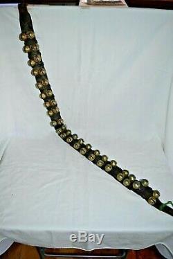 Vtg 42 Horse Sleigh Jingle Bells Double Row RARE Leather Harness Belt Cast Brass