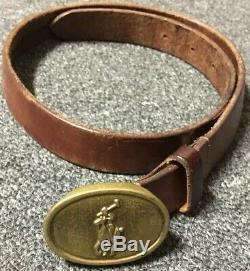 Vtg 70s Polo Ralph Lauren Belt Sz. 24 Brown Leather Brass Buckle USA Sport Kids