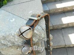 Vtg Antique Horse Sleigh 30 Bells 84 Leather Strap Buckle Primitive Victorian