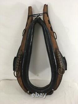 Vtg Antique Primitive Horse Mule Wood Metal Leather Yoke Hames Harness