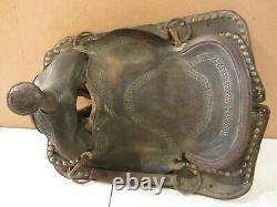 Vtg Antique Tooled Leather Western Horse Riding Saddle Ranch Farmhouse Decor