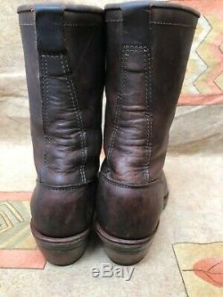 Vtg Chippewa Leather Logger Crazy Horse Packer Boots Men's 10.5 EE Cowboy #29405