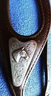 Vtg Diablo Sterling Silver Raised Horse Head Western Headstall Bridle Mint
