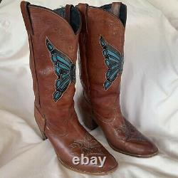 Vtg Dingo Women Labeled Sz 9 Leather Boots Western Cowboy Boho Butterfly READ
