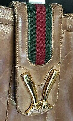 Vtg Gucci Brown Leather Gilt Gold Equestrian Boot Clasp Shoulder Bag 1970 RARE