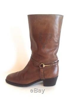 Vtg Gucci Motorcycle Beatle Biker Western Boots Stack Heel Harness Horse Bit 42