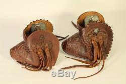 Vtg Hand Crafted Tooled Leather Parade Horse Tapaderos Covered Hooded Stirrups