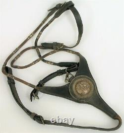 Vtg Keyston Bros Sterling Silver Horse Leather Concho Leather Cowboy Straps