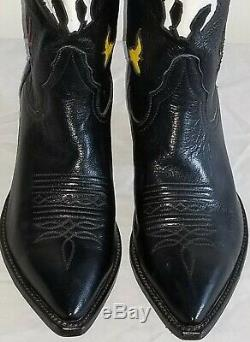 Vtg Larry Mahan Womens Black Cowboy Boots Inlay Multi Leather Sz 7 Rare