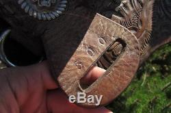 Vtg Leather Tooled 15 Saddle Double Strap Silver Conchos Western Cowboy Horse