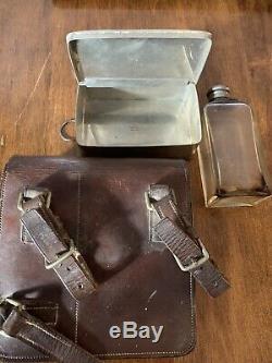 Vtg Leather WWI spec James Dixon & Sons Flask/Sandwich Case Sheffield horse hunt