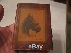 Vtg. Man O War Horse Racing Champion Gin Rummy Set Leather Case Tub M
