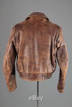 Vtg Men's 1940s 1950s Windward Horse Hide Leather Jacket sz S 40s 50s #3796