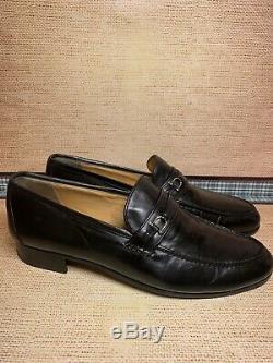 Vtg Men's GUCCI Black Leather Horse-bit Loafers Shoe Gucci Sz 43 Men = 10