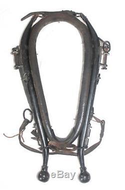 Vtg Old DRAFT HORSE LEATHER HARNESS COLLAR YOKE HANES Primitive WESTERN DECOR