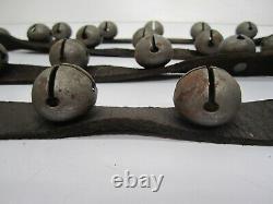 Vtg Primitive 30 Metal 1 1/8 Horse Sleigh Bells Jingle Suede Leather Strap 90