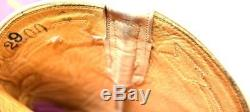 Vtg RIOS OF MERCEDES Inlay Sunburst Pink Yellow Tan Western Cowgirl Boots 9 M