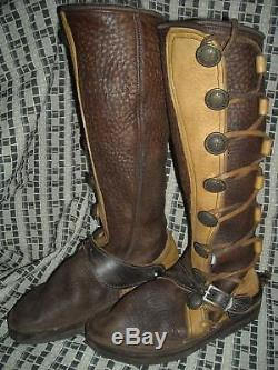 Vtg Style Womens 8.5 Nativearth Leather Brown 8 Button Tu Tone Boots W Spurs