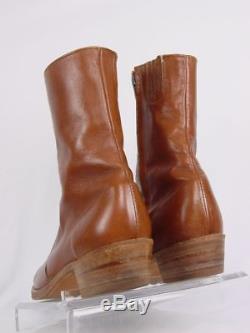 Vtg USA FRYE Men 9.5-D Brown Leather Side Zip Western Horse Cowboy Boots