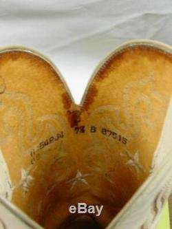 Vtg USA LUCCHESE 1883 Women 7.5-B Full Quill Ostrich Western Horse Cowboy Boot