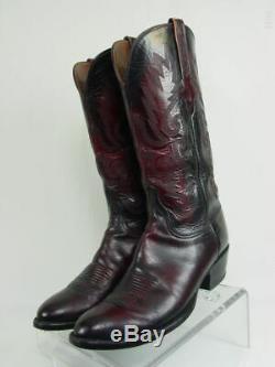 Vtg USA LUCCHESE Men 10-D Black Cherry Goatskin Western Horse Cowboy Boots