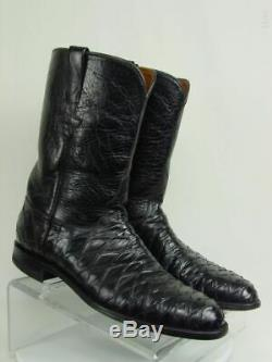 Vtg USA LUCCHESE Men 11.5-B Black Handmade Exotic Western Horse Cowboy Boot