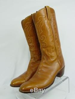 Vtg USA LUCCHESE Men 11-D Brown Leather Western Horse Cowboy Boots