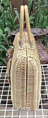 Vtg Wicker HORSE Marcus Bros Leather Horseshoe Woven Handbag Hong Kong RARE