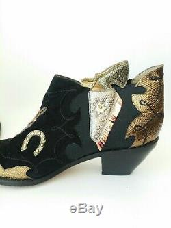 Vtg Zalo Horse Pistol Western Cowboy Boots 9 Womens Ankle Booties Shoes
