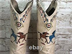Vtg Zodiac womens sz 9 horse print tall western blocked heel boots