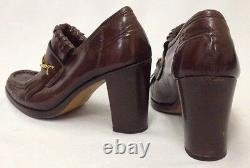 WANNABE Patricia Cox Signature Vtg Brown Leather Loafers Kiltie Heels